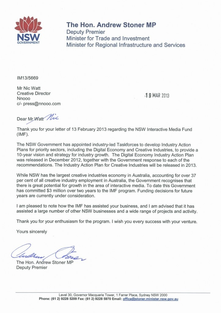 Letter from Andrew Stoner re IMF