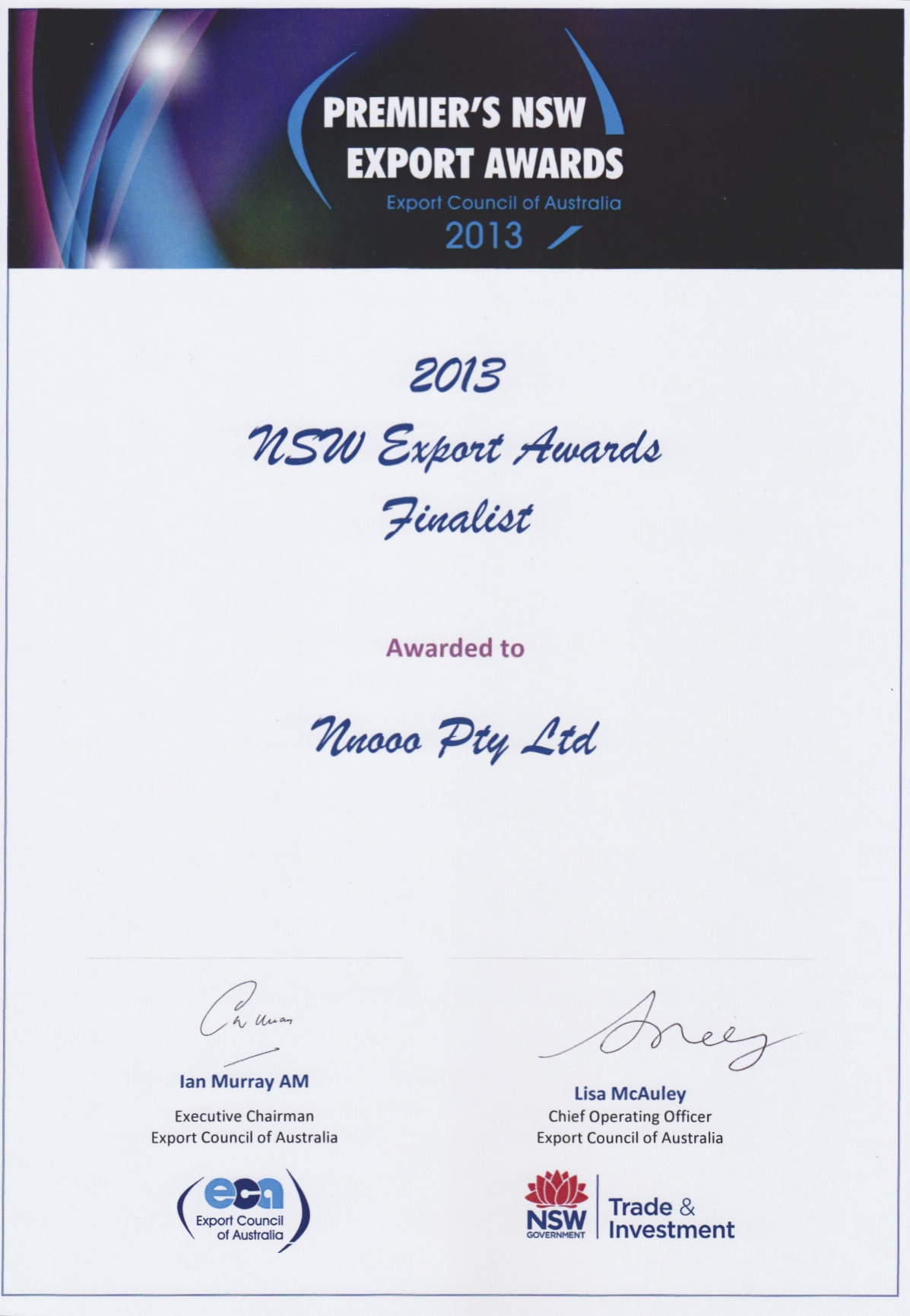 Finalist certificate