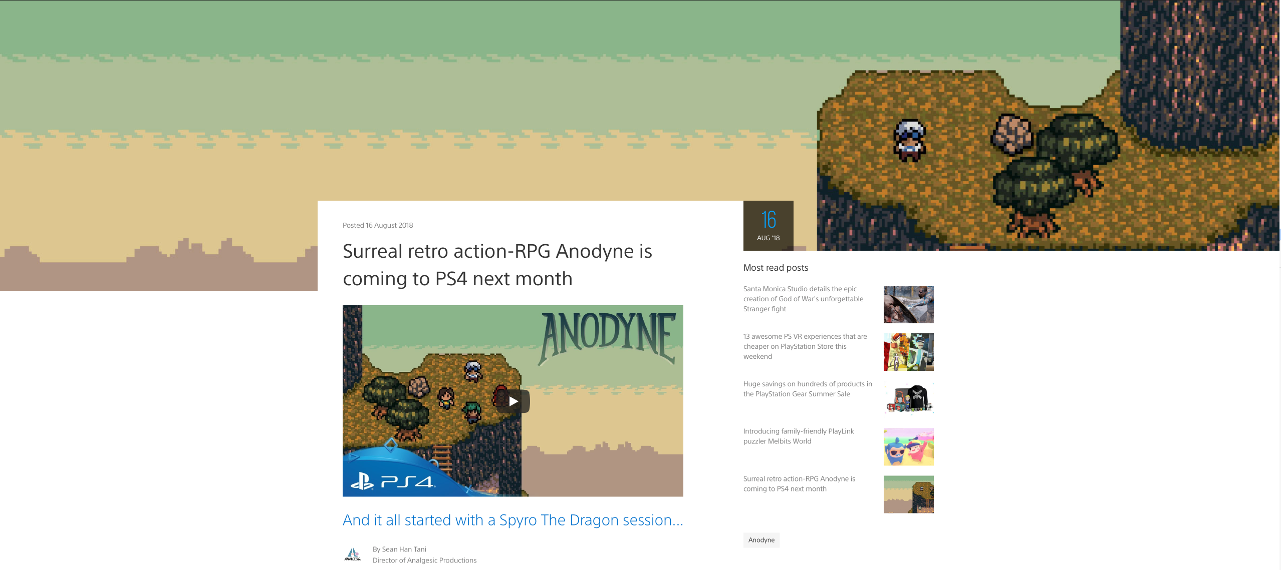 Anodyne on PS Blog
